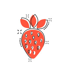 cartoon strawberry fruit icon in comic style ripe vector image