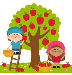 Children picking apples under an apple tree vector