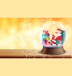 christmas greeting card snow globe santa vector image