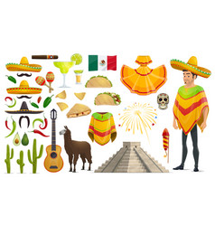 Cinco de mayo mexican holiday icons vector
