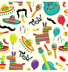 cinco de mayo seamles pattern with fiesta vector image