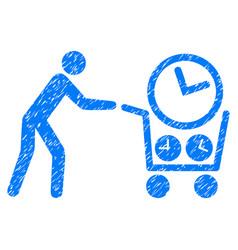 Clock shopping grunge icon vector