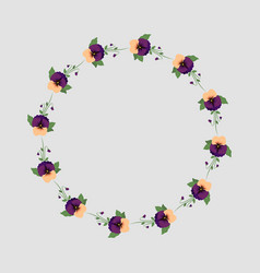 Colored floral frame with pansy flowers vector