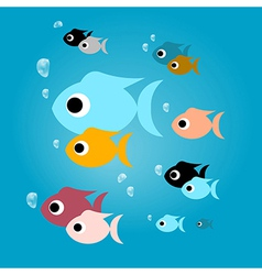 Colorful Fish with Bubbles in Blue Water vector