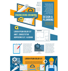 Construction planning and building design banner vector