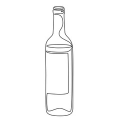 continuous line drawing bottle wine vector image