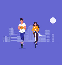 couple ride electric kick scooters in city vector image