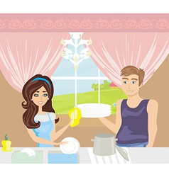 couple washing dishes in the kitchen vector image