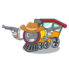 Cowboy train character cartoon style vector