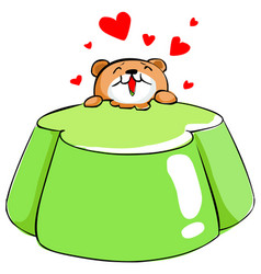 Cute bear love apple tasty jelly xa vector