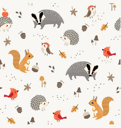 cute little woodland animals and birds pattern vector image