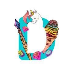 cute magic letter d vector image