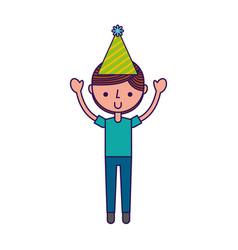 Cute party boy cartoon vector