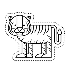Cute tiger character icon vector