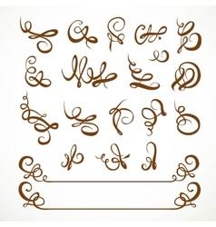 Decorative calligraphic flourishes on a white vector