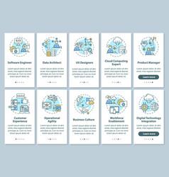 Digital transformation onboarding mobile app page vector