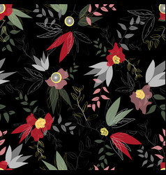 disintegrated red and pink poppy floral pattern vector image