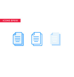 document file icon in line outline filled outline vector image
