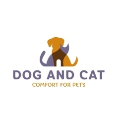 Dog and Cat with effect Overlay trend logo art vector