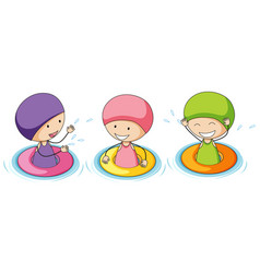 Doodle kids playing in water vector