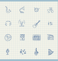 drawn icons on music theme vector image