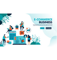 Ecosystem in e-commerce business starting vector
