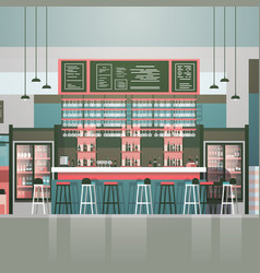 Empty bar or coffee shop interior cafe counter vector