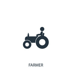 Farmer on tractor icon simple gardening element vector