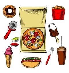 Fast food pizza and snacks vector