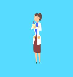 Female scientist doctor or engineer cartoon vector