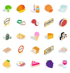 Filling a biscuit icons set isometric style vector
