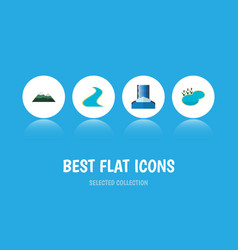 flat icon bio set of tributary cascade pond and vector image