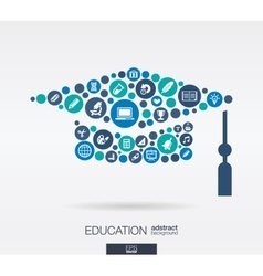 Flat icons in a graduation hat shape education vector