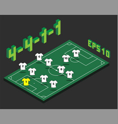 Football 4-4-1-1 formation with isometric field vector