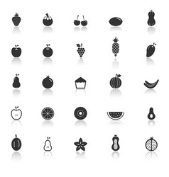 Fruit icons with reflect on white background vector