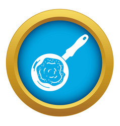 Fry pan icon blue isolated vector