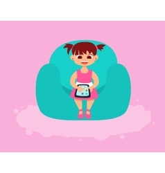 Girl playing on the tablet vector