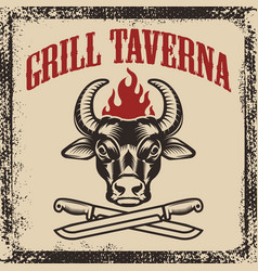 grill taverna bull head with two crossed knives vector image