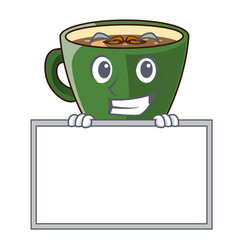 Grinning with board indian masala tea in cartoon vector