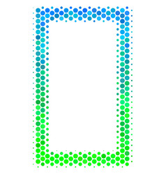 Halftone blue-green contour rectangle icon vector
