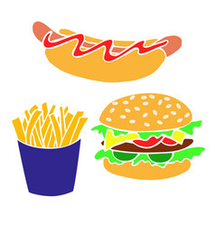 hand drawn fast food products for decorating vector image