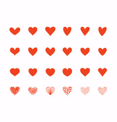 hand drawn love heart collection design elements vector image