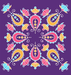 hand drawn mandala with paisley on violet vector image