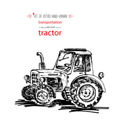 hand-drawn vintage transport tractor quick ink vector image