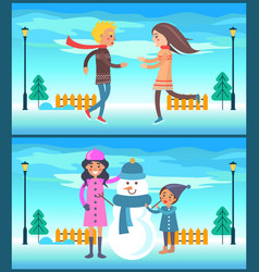 Happy couple boy and girl running mother snowman vector