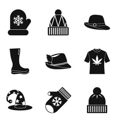 hats new clothing icon set simple style vector image
