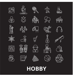 hobby editable line icons set on black vector image