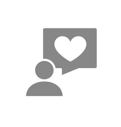human with heart in speech bubble gray icon vector image