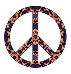 international peace symbol with flowers isolated vector image