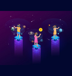 Isometric virtual reality concept a girls and boy vector